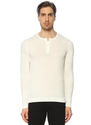 Roberto Collina Düğmeli Uzun Kollu Tişört Beyaz